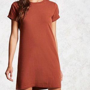 F21 rust coloured Crepe T-shirt dress